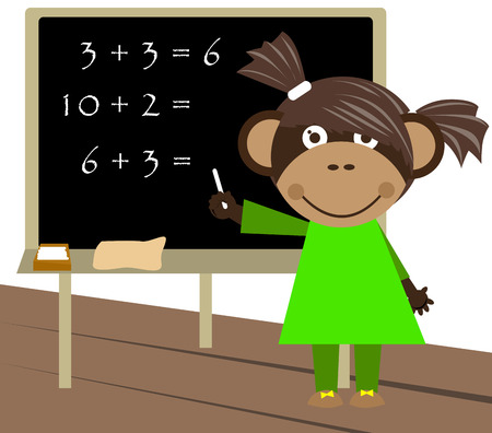 outcome: Little monkey counting and writing down the outcome on blackboard.