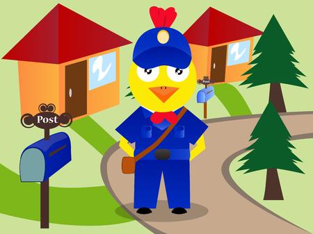 Pollo come impiegato postale consegna delle lettere.