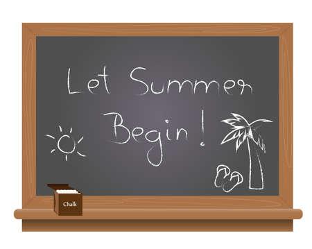 begin: Let summer begin text on a school blackboard written with chalk. Illustration