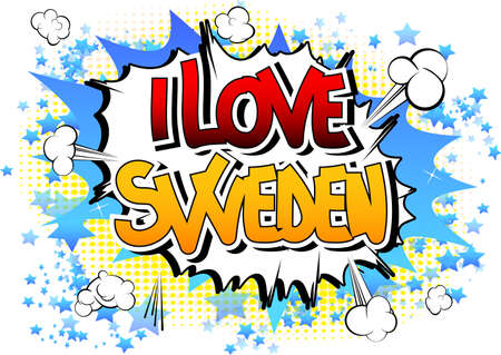 I Love Sweden - Comic book style word on comic book abstract background. Illustration