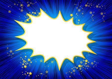 Explosión, estilo retro fondo de cómics de colores con espacio para el texto. Ilustración de vector