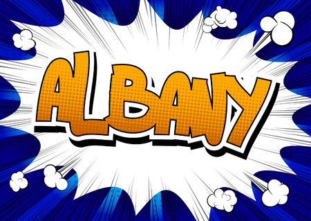 albany: Albany - Comic book style word on comic book abstract background. Illustration
