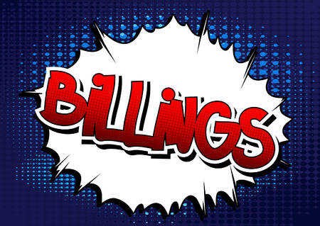 metropolitan: Billings - Comic book style word on comic book abstract background. Illustration