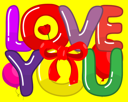 bubble letters: Love You -  words with funny bubble letters on yellow background.