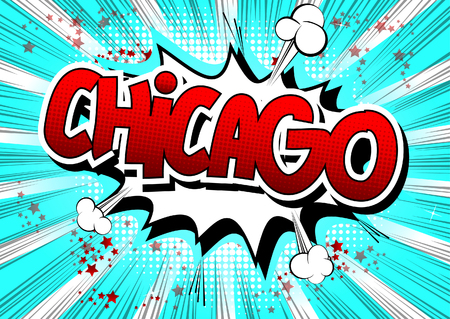 Chicago - Comic book style word on comic book abstract background.