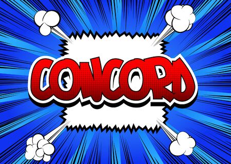 concord: Concord - Comic book style word on comic book abstract background. Illustration