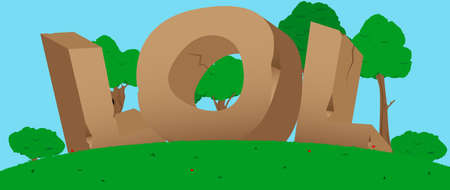 lol: Vector illustrated LOL word, letters made of stones.