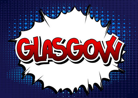 glasgow: Glasgow - Comic book style word on comic book abstract background.