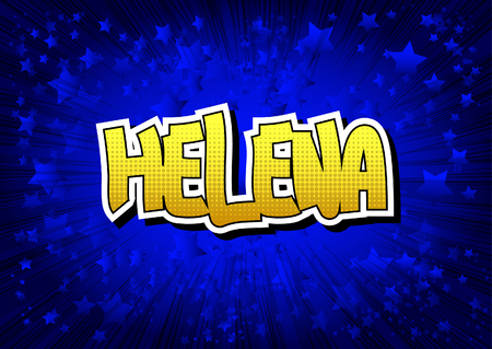 helena: Helena - Comic book style word on comic book abstract background.