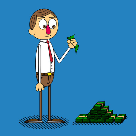 Vector cartoon businessman holding banknotes in his hand