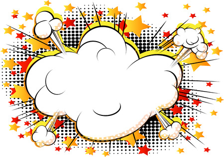 Vector comic book style cloud explosion with writing space