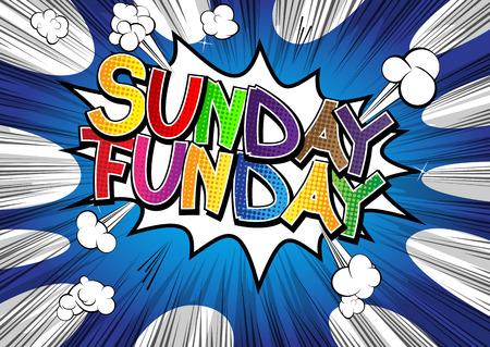sole: Domenica Funday - Comic parola di stile del libro di fumetti su sfondo astratto. Vettoriali