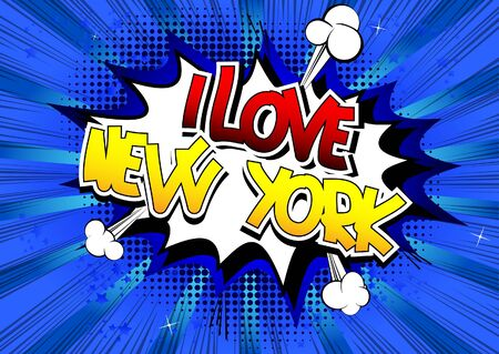 i t: I Love New York - Comic book style word on comic book abstract background.