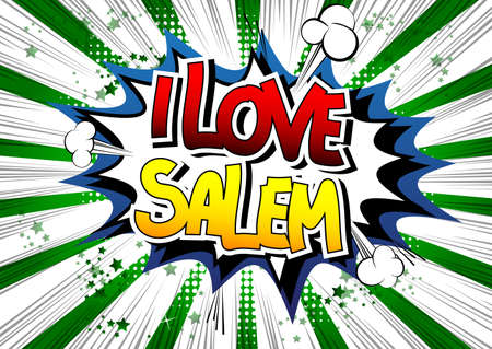 i t: I Love Salem - Comic book style word on comic book abstract background.
