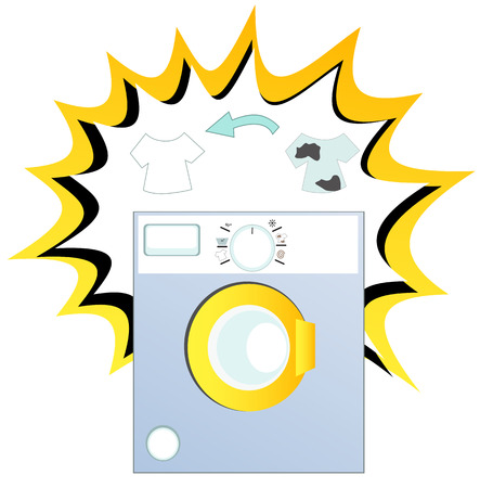 washing clothes: Smart washing machine with dirty and clean clothes.