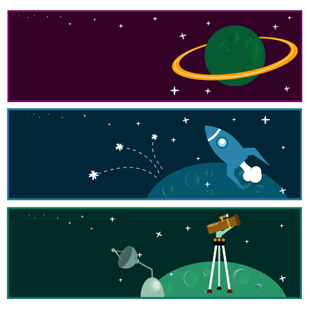 astronomic: Scientific banners with flat astronomic symbols. Illustration