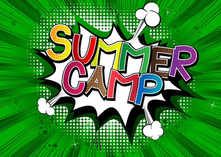 Summer Camp - Comic book style word on comic book abstract background. Vector Illustration
