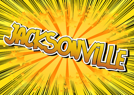 jacksonville: Jacksonville - Comic book style word on comic book abstract background.