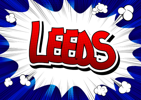 leeds: Leeds - Comic book style word on comic book abstract background.