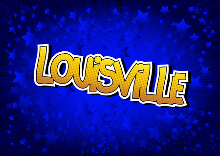 louisville: Louisville - Comic book style word on comic book abstract background.