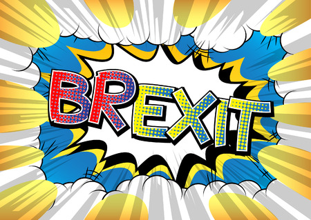 yes or no to euro: Brexit - Comic book style word on comic book abstract background.