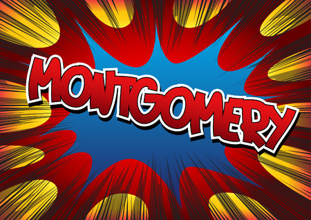 montgomery: Montgomery - Comic book style word on comic book abstract background. Illustration