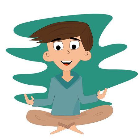 meditates: Cute boy meditates in the lotus position.