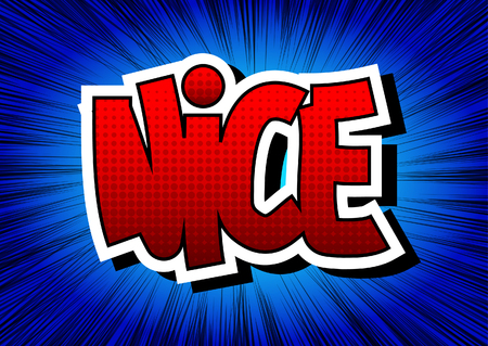 nice france: Nice - Comic book style word on comic book abstract background.