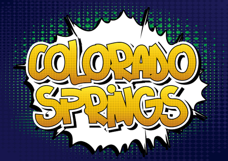 colorado springs: Colorado Springs - Comic book style word on comic book abstract background.