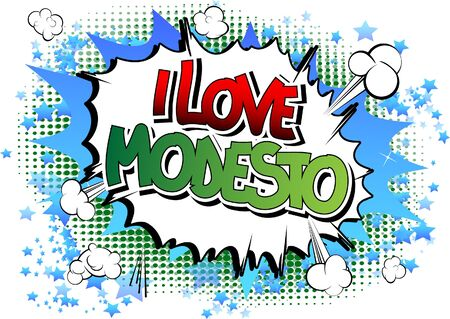 I Love Modesto - Comic book style word on comic book abstract background. Illustration