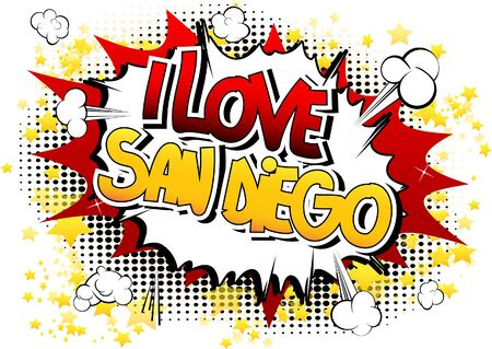 san diego: I Love San Diego - Comic book style word on comic book abstract background. Illustration