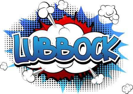 Lubbock - Het grappige woord van de boekstijl op grappige boek abstracte achtergrond. Stock Illustratie