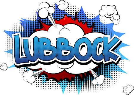 Lubbock - Comic book style word on comic book abstract background.
