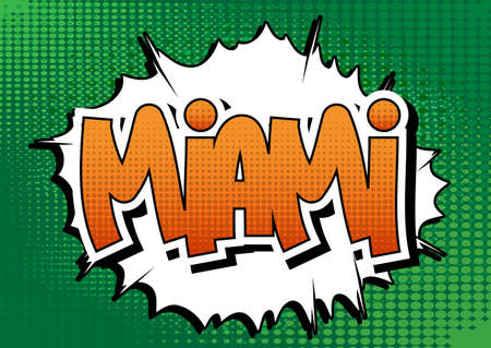 Miami - Comic book style word on comic book abstract background. Illustration