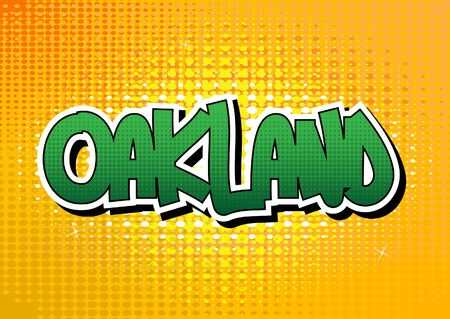 Oakland - Comic book style word on comic book abstract background.