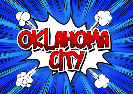 Oklahoma - Comic book style word on comic book abstract background. Illustration