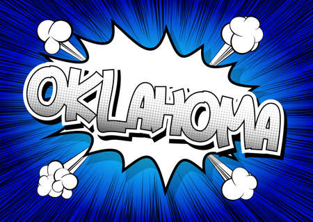 oklahoma: Oklahoma - Comic book style word on comic book abstract background. Illustration