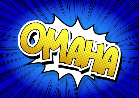 Omaha - Comic book style word on comic book abstract background. Illustration