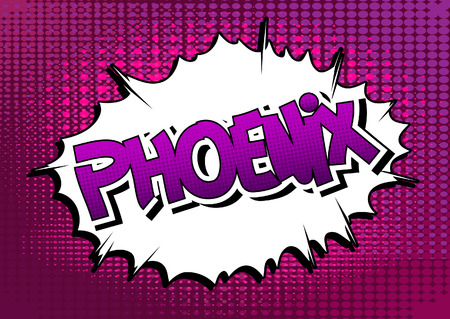 Phoenix - Comic book style word on comic book abstract background.