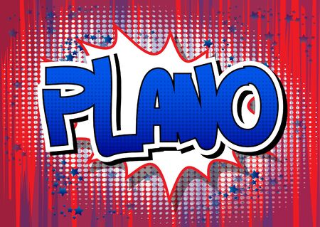 plano: Plano - Comic book style word on comic book abstract background. Illustration