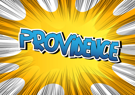 providence: Providence - Comic book style word on comic book abstract background.