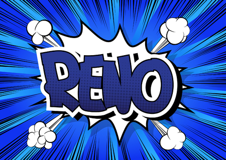 reno: Reno - Comic book style word on comic book abstract background.