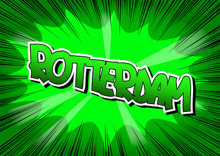 Rotterdam - Comic book style word on comic book abstract background.