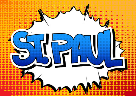 paul: St. Paul - Comic book style word on comic book abstract background. Illustration