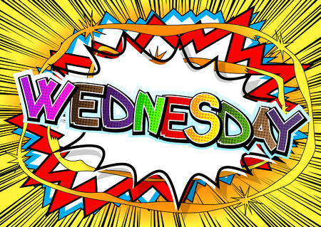 Wednesday - Comic book style word on comic book abstract background. Vectores
