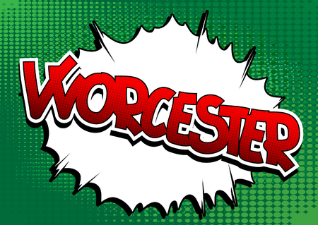 Worcester - Comic book style word on comic book abstract background. Illustration