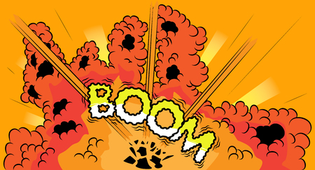 Comic book, cartoon explosion with boom word.