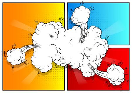 clash: Explosion, colorful retro style comic book background. Illustration