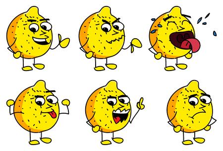 limon caricatura: Vector ilustrado conjunto de caracteres bosquejo de dibujos animados de lim�n. Vectores