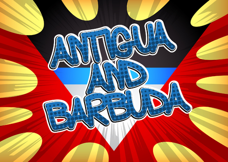 antigua: Antigua and Barbuda - Comic book style text.